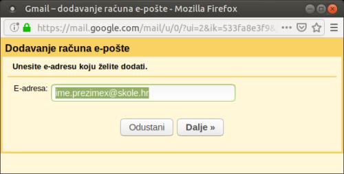 Unesite svoju e-adresu koju želite dodati: ime.prezimex@skole.hr